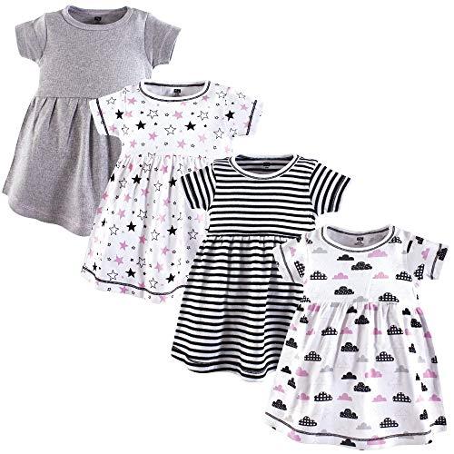 Hudson Baby Baby Girls' Cotton Dress, Stars/Clouds 4Pk