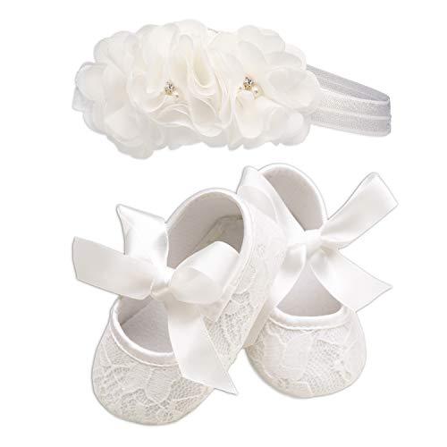 Light Ivory Lace Baptism Christening Shoe and Headband Set