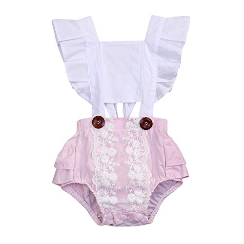 Newborn Baby Girl Toddler Lace Cotton Romper Pink Ruffles Bodysuit
