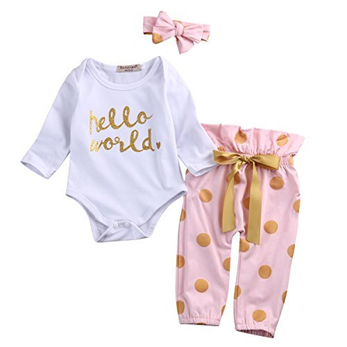 3Pcs Infant Newborn Baby Girls Hello World Romper Tops