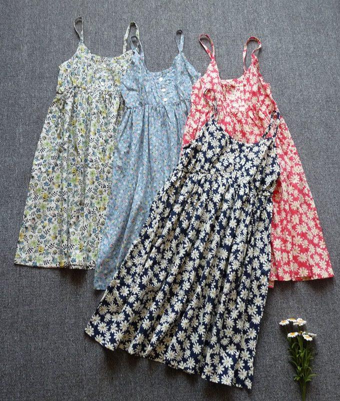 Sundresses spaghetti strap cotton print Cheap clothes summer dress