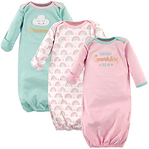 Luvable Friends Baby Cotton Gowns, Sparkling New 3-Pack One Size