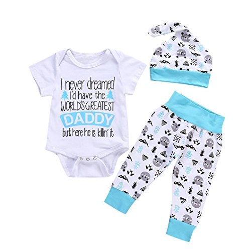 WARMSHOP 3 PC Toddler Girls Solid Long Sleeve T Shirt Tops+Printing Causal Pants+Hat Home Outfits Clothes Set