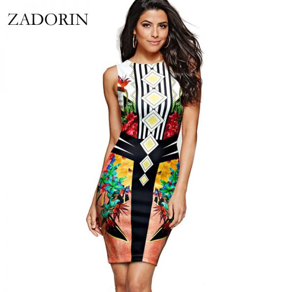 Europe Fashion Floral India Bodycon Pencil Dress