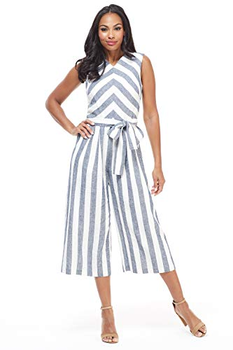 Maggy London Womens's Molly Jumpsuit Navy White