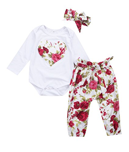 Newborn Baby Girls Floral Heart Peach Print Romper Long Pants