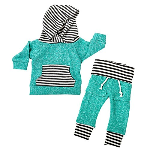 Baby Boy Girl Kids 2pcs Warm Daily Outfit Striped Green Hoodie