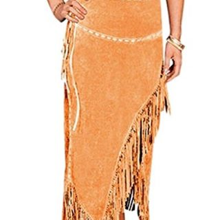 Scully Women's Suede Leather Fringe Skirt Tan Small