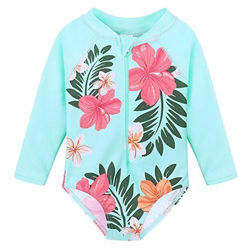HUANQIUE Baby/Toddler Girl Swimsuit Rashguard Swimwear Long Sleeve