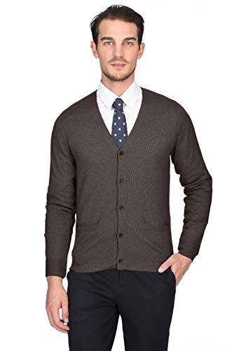 State Cashmere Men's 100% Pure Cashmere Button Front Long Sleeve