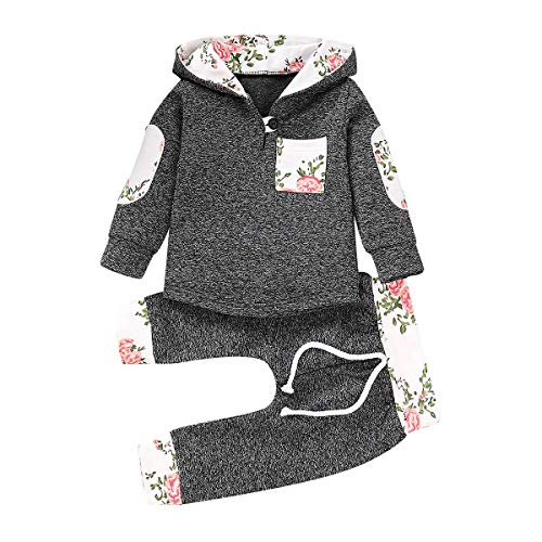 Toddler Infant Baby Boys Girls Stylish Plaid Floral Pocket Hooded Sweatshirt Coat