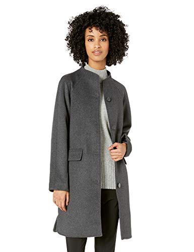 Lark & Ro Women's Funnel Neck Coat, charcoal
