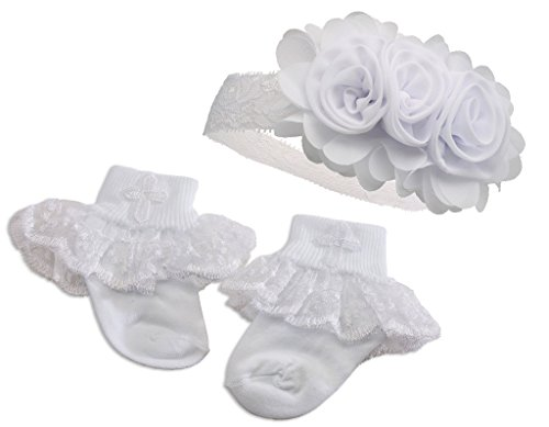 """Petals"" Baby Girl White Baptism or Christening Socks"