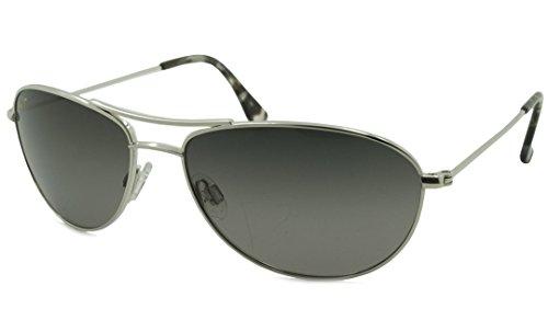 Maui Jim Baby Beach Aviator Sunglasses, Silver Frame/Neutral Grey Lens