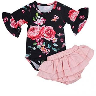 Newborn Baby Girl Clothes Flare Sleeve Romper + Floral Short Pants