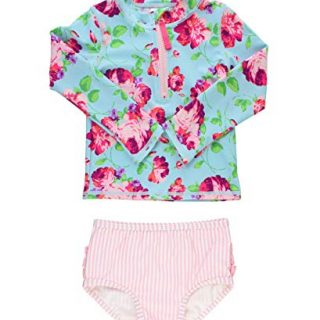 RuffleButts Baby/Toddler Girls Life is Rosy Long Sleeve