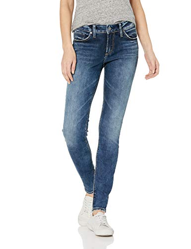 Silver Jeans Co. Women's Elyse Relaxed Fit Mid Rise Skinny Jeans