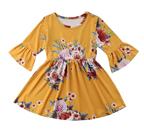 yannzi Toddler Kids Baby Girl Ruffle 3/4 Long Flare Sleeve Floral Party Dresses
