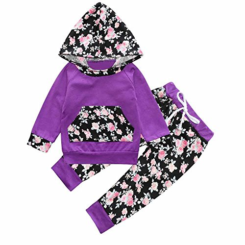 Baby Girl Purple Floral Long Sleeve Hoodie Pocket Tops Sweatsuit Pants Sets