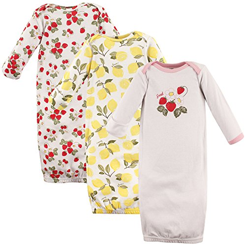 Hudson Baby Gowns, 3 Pack, Strawberries & Lemons