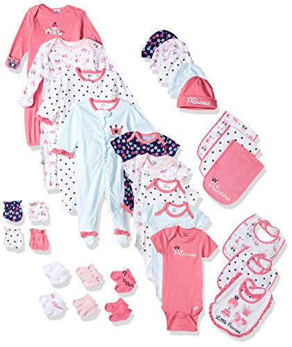Gerber Baby Girls' 30-Piece Essentials Gift Set, Pink Princess, Newborn