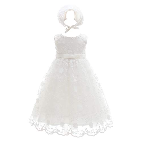 Baby Girls Floral Embroidered Overlay Sleeveless Christening