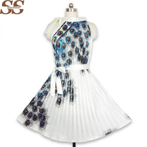 19 Summer Dress Peacock Feather Print Women A-Line Pleated Dresses