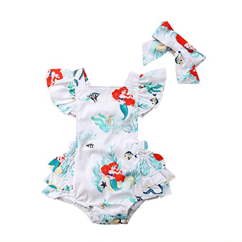 Baby Girls Rompers, Mermaid Sea World Pattern Flower Edge Bodysuit