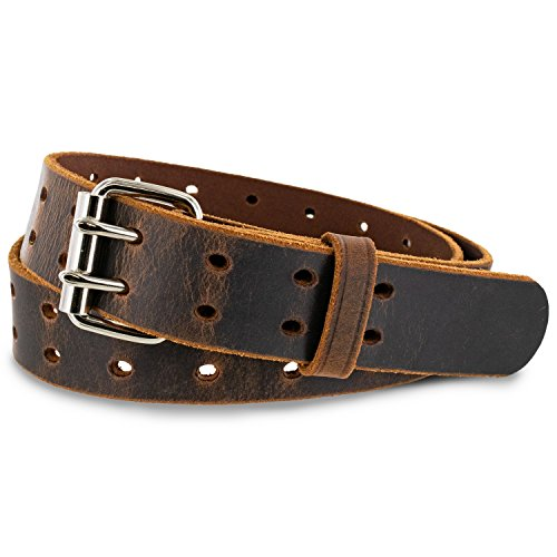 "Hanks Woodstock Belt - 1.5"" Double Prong Men's Belt"