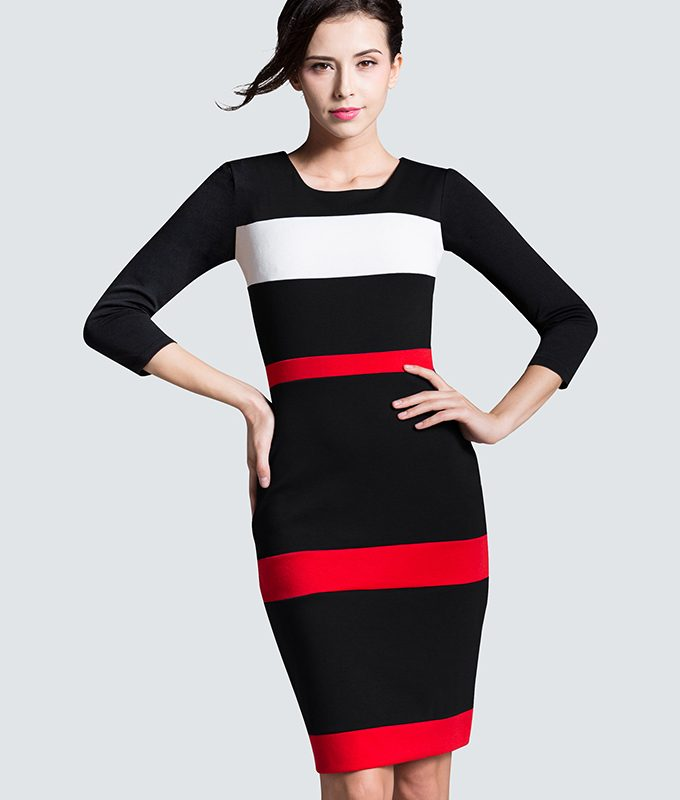 Women Sheath Patchwork Striped Elegant O-Neck Dark Blue Summer Dress