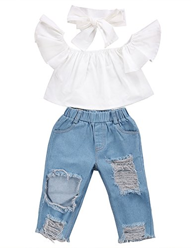 3pcs Baby Girls Kids Off Shoulder Lotus Leaf Top Holes Denim Jeans