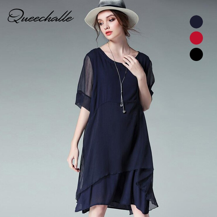 Queechalle 19 Summer Dress Women Two Pieces Large Size Dress