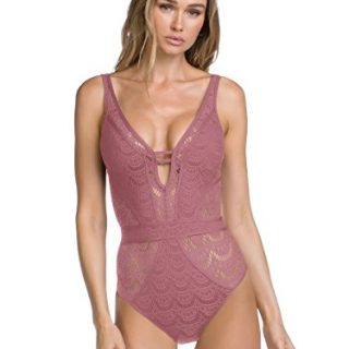 Becca by Rebecca Virtue Women's Sheer Crochet Plunge One Piece