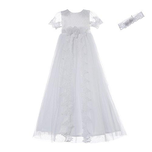 NIMBLE Baby Girls Christening Lace Mesh Dress Set