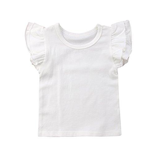 Infant Toddler Baby Girl Top Basic Plain Ruffle T-Shirt Blouse