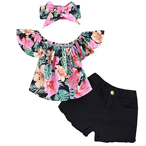 3Pcs/Set Toddler Baby Girl Clothes Summer Outfits Floral Print