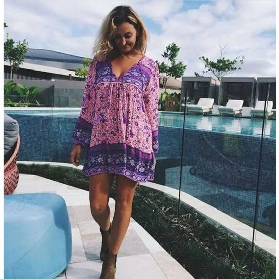 19 Summer Dress Women Printed Bohemian Sweet Holiday Short Dresses