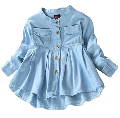 BANGELY Kids Baby Girls Ruffled Hem Denim T Shirt Tops Long Sleeve