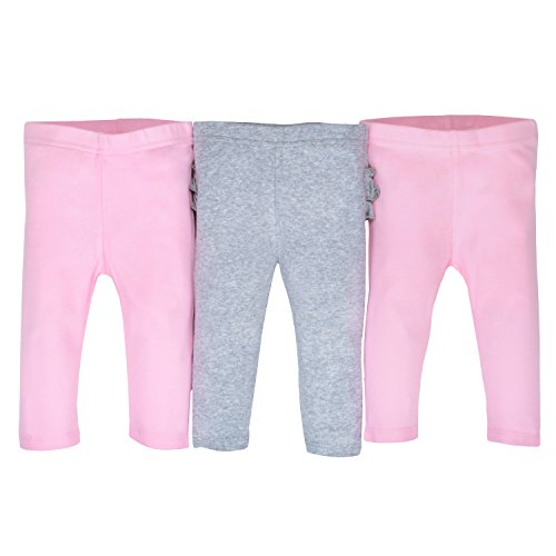 Gerber Baby Girls' 3-Pack Organic Pant, Gray/Light Pink, Newborn