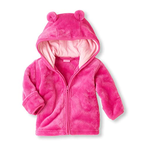 Noubeau Infant Baby Boys Girls Fleece Ears Hat Lined Hooded Zipper Up Jacket