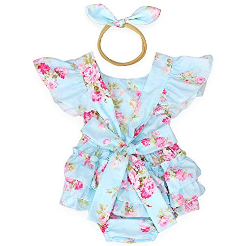 Baby Girls Cotton Vintage Floral Ruffle Rompers Clothing Headband Set