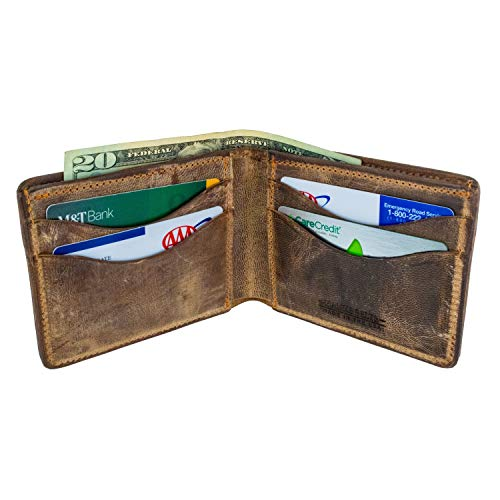 Hanks Bi-Fold Leather Wallet - Holds 8-13 Cards - USA Made
