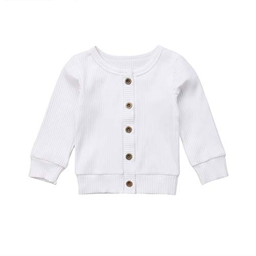 Baby Girl Button Down Knitwear Long Sleeve Soft Basic Knit Snap Jacket