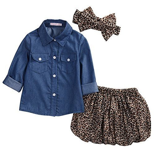 3pc Cute Baby Girl Blue Jean Shirt +Princess Tulle Overlay Lace Dress