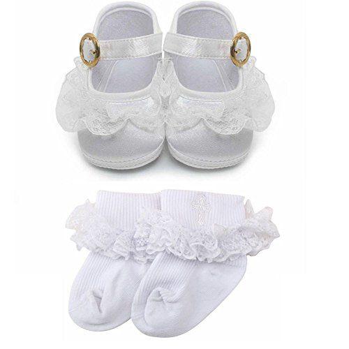 Delebao Baby Girl Infant Buckle Christening Satin Baptism Shoes
