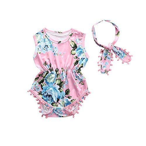Cute Adorable Floral Romper Baby Girls Sleeveless Tassel Romper One