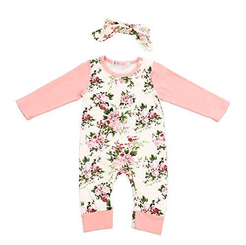 Newborn Baby Girl Clothes Floral Long Sleeve Footless Romper Jumpsuit