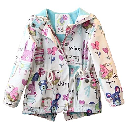Kids Baby Toddler Girls Spring Fall Cartoon Trench Coat Wind Hooded Jacket