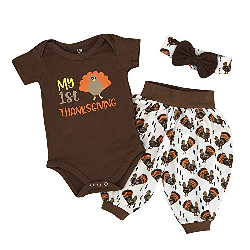 Unique Baby Girls My 1st Thanksgiving Turkey Layette Harem Pants