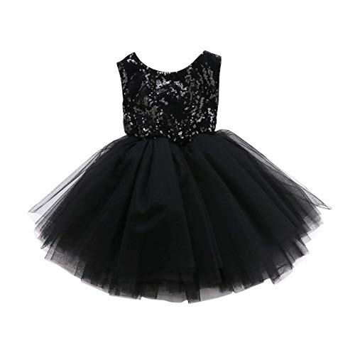 Toddler Kids Baby Girls Dress Sleeveless Sequins Bow-Knot Party